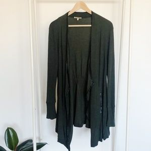 Green Anthropologie Cardigan with Leather Trim